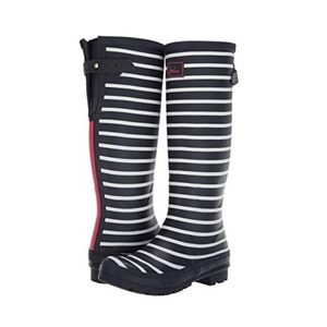 NWT Joules Tall French Navy Stripe Rain Wellies